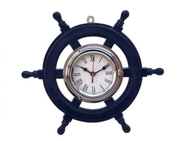 Deluxe Class Dark Blue Wood and Chrome Pirate Ship Wheel Clock 12