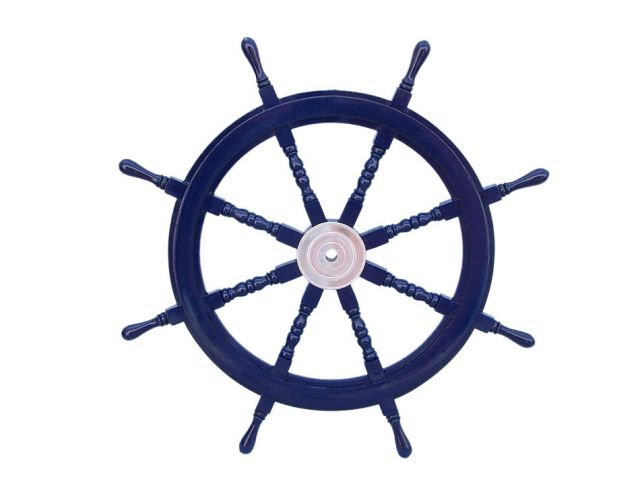 Deluxe Class Dark Blue Wood and Chrome Decorative Ship Steering Wheel 36
