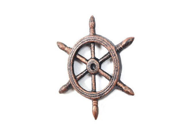 Rustic Copper Cast Iron Ship Wheel Decorative Christmas Ornament 4