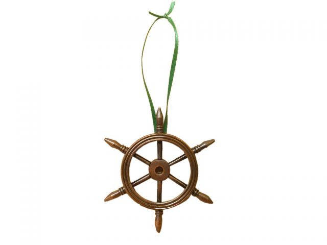 Antique Copper Decorative Ship Wheel Christmas Ornament 6
