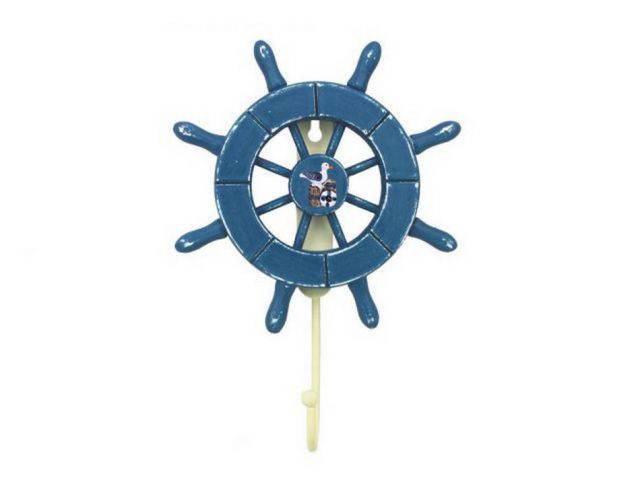 Rustic All Light Blue Decorative Ship Wheel with Seagull and Hook 8
