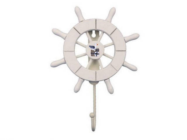 White Decorative Ship Wheel with Seagull and Hook 8