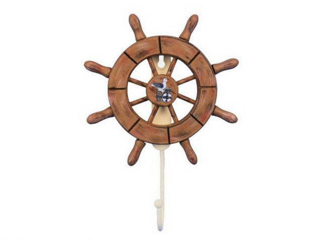 Rustic Wood Finish Decorative Ship Wheel with Seagull and Hook 8