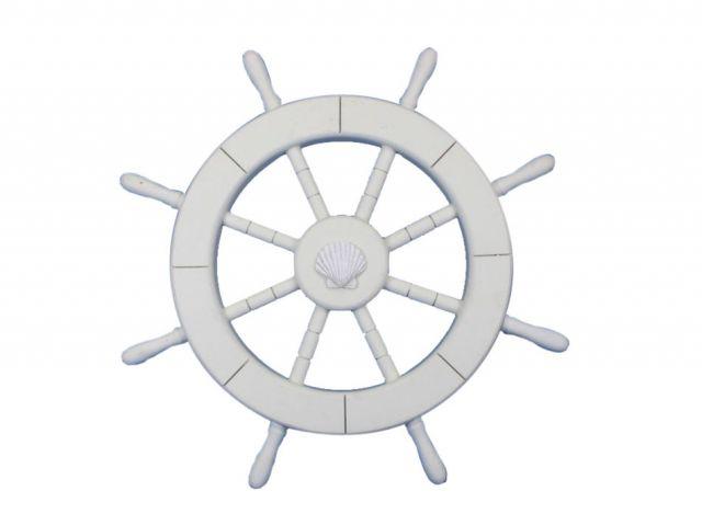 White Decorative Ship Wheel with Seashell 18