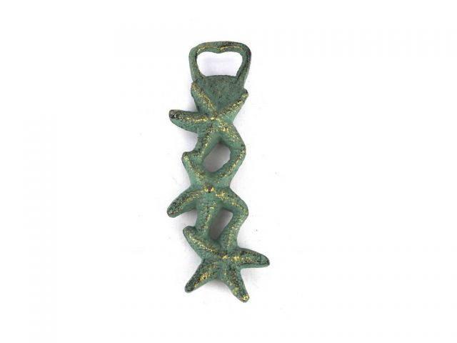 Antique Bronze Cast Iron Triple Starfish Bottle Opener 7