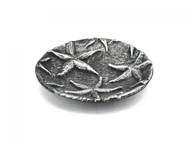 Antique Silver Cast Iron Starfish Decorative Plate 6.5
