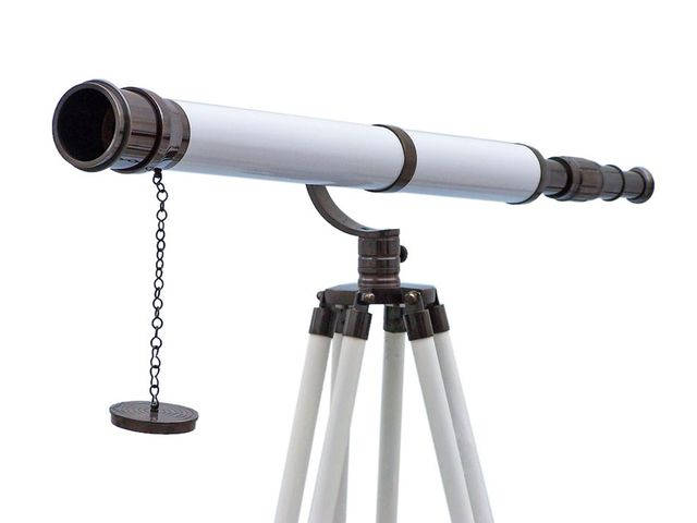 Floor Standing Oil Rubbed Bronze-White Leather Galileo Telescope 65
