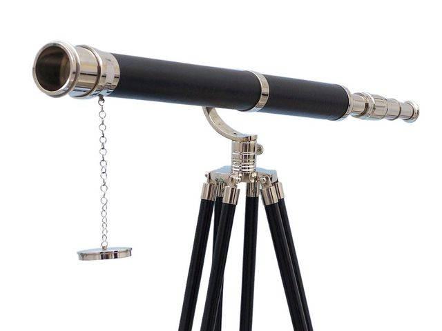 Floor Standing Chrome-Leather Galileo Telescope 65