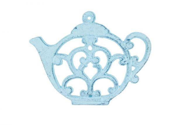 Rustic Dark Blue Whitewashed Cast Iron Round Teapot Trivet 8