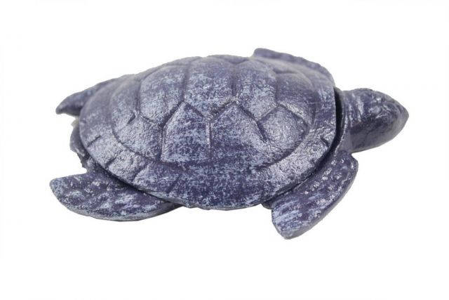 Rustic Dark Blue Cast Iron Decorative Turtle Paperweight 4