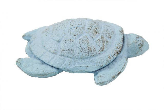 Rustic Light Blue Cast Iron Decorative Turtle Paperweight 4