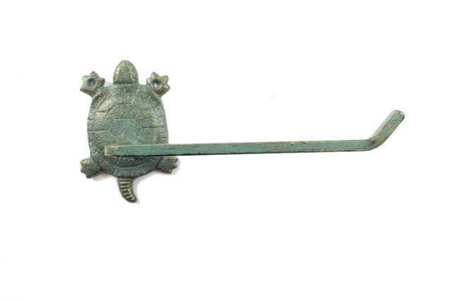 Antique Seaworn Bronze Cast Iron Decorative Turtle Toilet Paper Holder 10