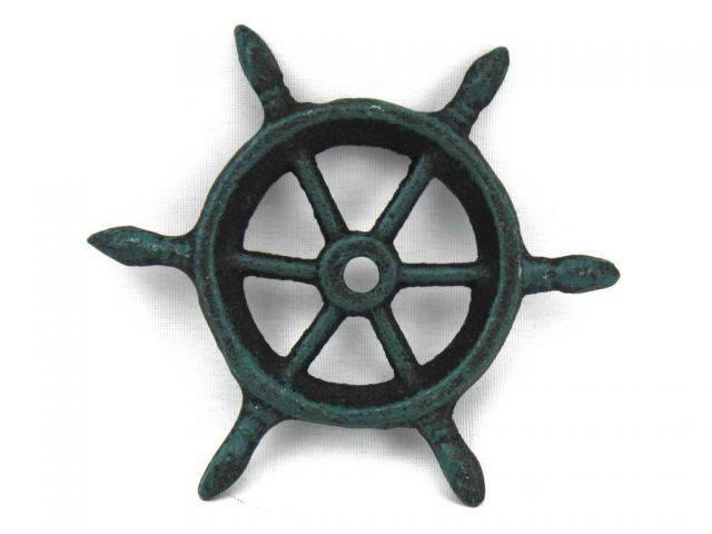 Seaworn Blue Cast Iron Ship Wheel Decorative Paperweight 4