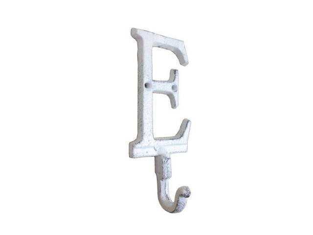 Whitewashed Cast Iron Letter E Alphabet Wall Hook 6