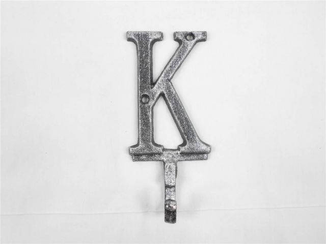 Rustic Silver Cast Iron Letter K Alphabet Wall Hook 6