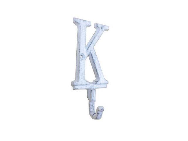 Whitewashed Cast Iron Letter K Alphabet Wall Hook 6