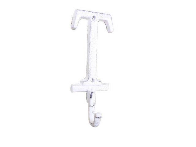 Whitewashed Cast Iron Letter T Alphabet Wall Hook 6
