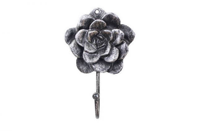 Rustic Silver Cast Iron Decorative Rose Hook 7