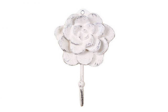 Whitewashed Cast Iron Decorative Rose Hook 7
