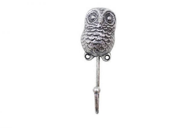 Rustic Silver Cast Iron Decorative Owl Hook 6