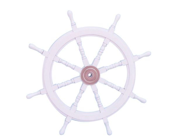 Deluxe Class White Wood and Chrome Ship Decorative Steering Wheel 36