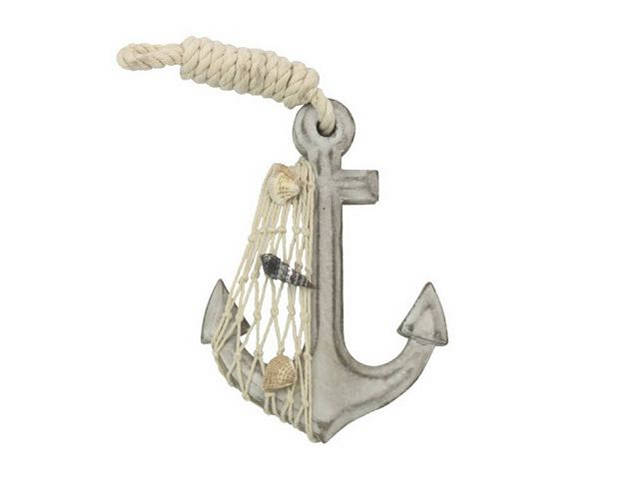 Wooden Whitewashed Decorative Anchor 6