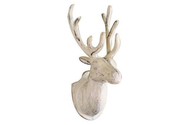 Whitewashed Cast Iron Deer Hook 12