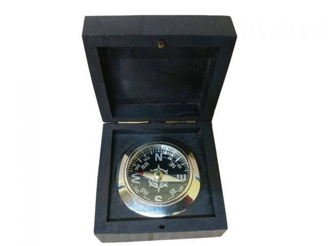 Chrome Black Desk Compass with Black Rosewood Box 3