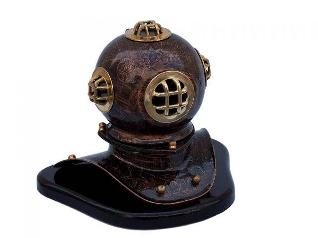 Antique Copper Seascape Divers Helmet 11