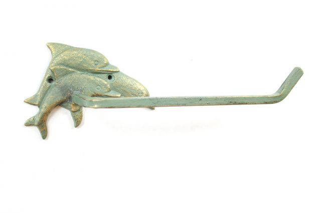 Antique Seaworn Bronze Cast Iron Decorative Dolphins Toilet Paper Holder 10