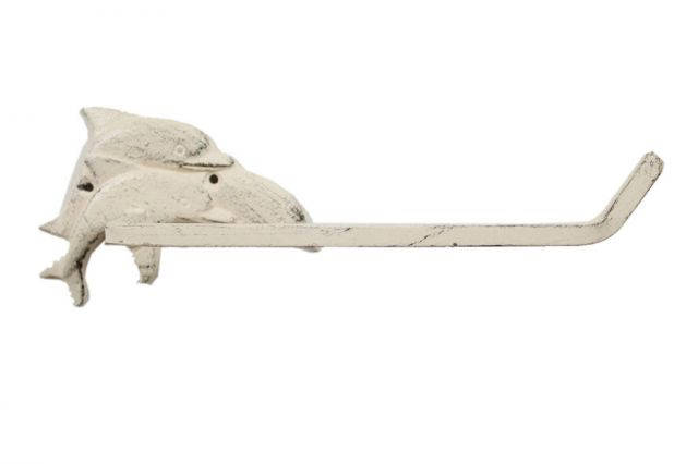 Whitewashed Cast Iron Decorative Dolphins Toilet Paper Holder 10