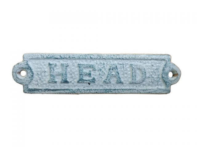 Rustic Dark Blue Whitewashed Cast Iron Head Sign 6