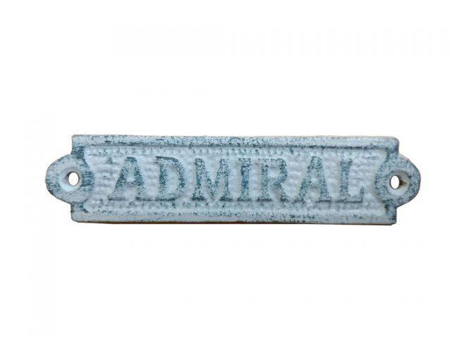 Rustic Dark Blue Whitewashed Cast Iron Admiral Sign 6