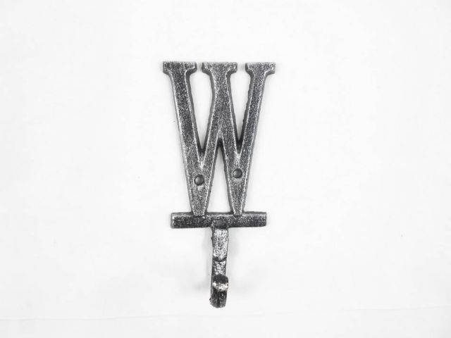 Rustic Silver Cast Iron Letter W Alphabet Wall Hook 6
