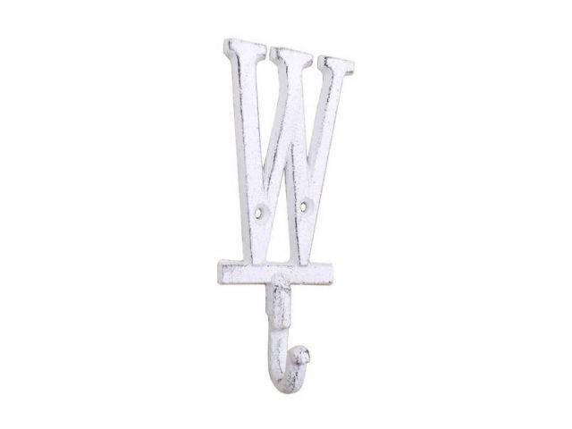 Whitewashed Cast Iron Letter W Alphabet Wall Hook 6