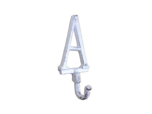 Whitewashed Cast Iron Letter A Alphabet Wall Hook 6