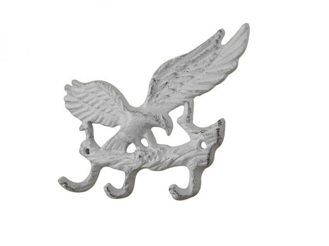 Whitewashed Cast Iron Flying Eagle Landing on a Tree Branch Decorative Metal Wall Hooks 7.5