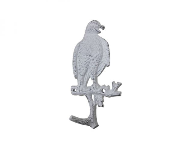 Whitewashed Cast Iron Eagle Sitting on a Tree Branch Decorative Metal Wall Hook 6.5