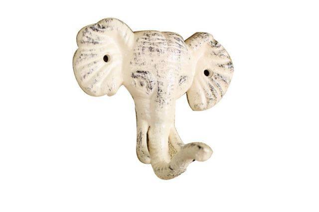 Whitewashed Cast Iron Elephant Hook 5