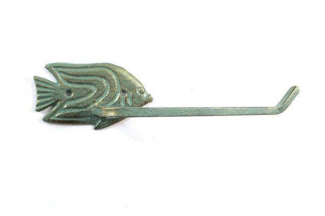 Antique Seaworn Bronze Cast Iron Angel Fish Toilet Paper Holder 11