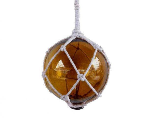 Amber Japanese Glass Ball With White Netting Christmas Ornament 4