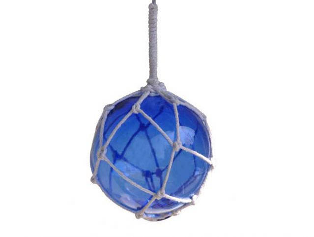 Blue Japanese Glass Ball Fishing Float With White Netting Decoration 4