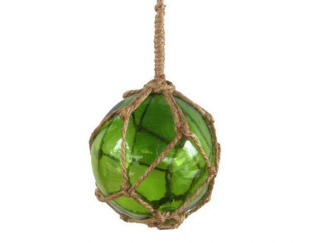 Green Japanese Glass Ball Fishing Float With Brown Netting Decoration 4