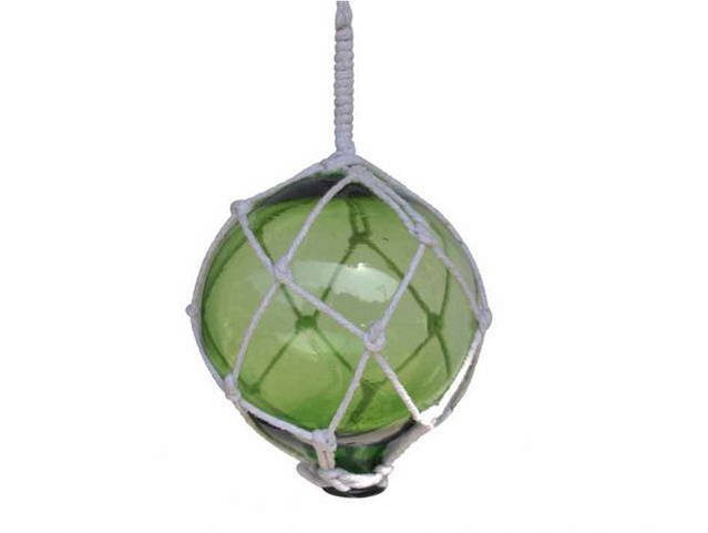 Green Japanese Glass Ball Fishing Float With White Netting Decoration 4