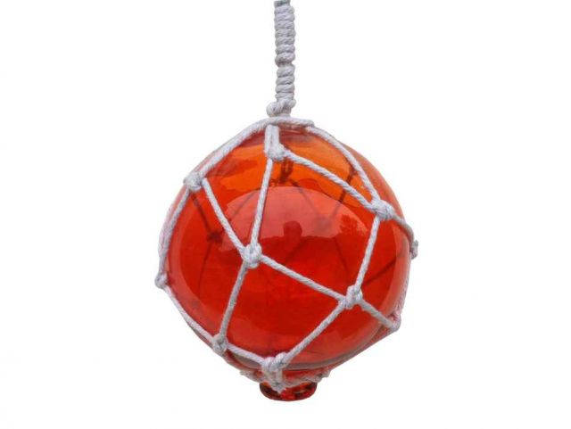 Orange Japanese Glass Ball With White Netting Christmas Ornament 4