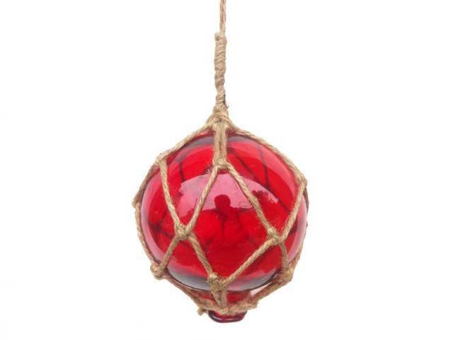 Red Japanese Glass Ball Fishing Float With Brown Netting Decoration 4
