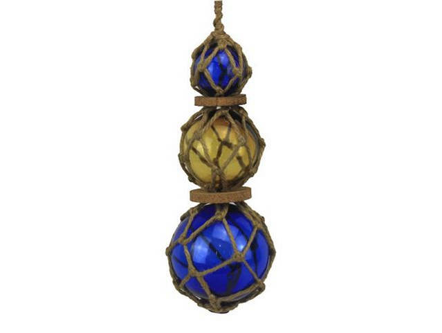 Blue - Amber - Blue Japanese Glass Ball Fishing Floats with Brown Netting Decoration 11