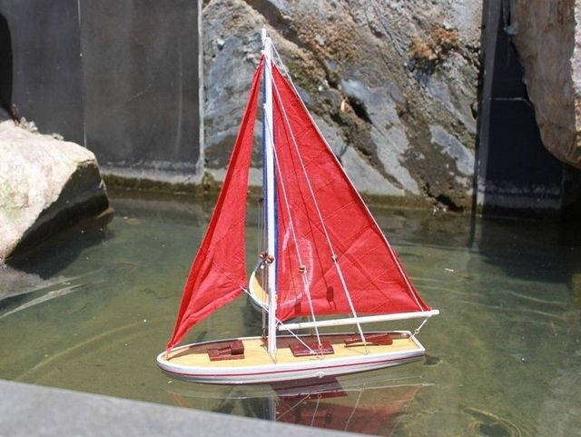 Wooden It Floats 21 - Red Floating Sailboat Model with Red Sails