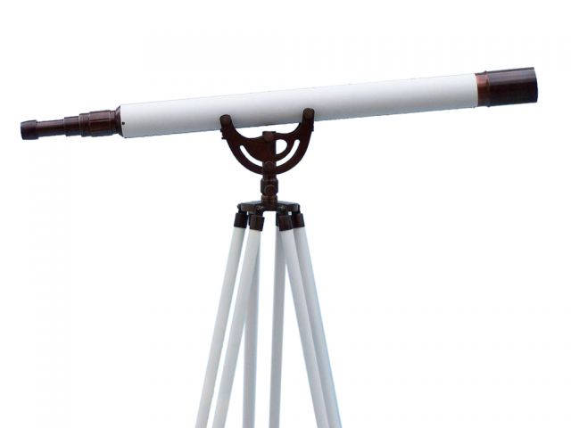 Floor Standing Bronzed With White Leather Anchormaster Telescope 65