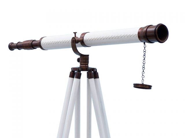 Floor Standing Bronzed With White Leather Galileo Telescope 65